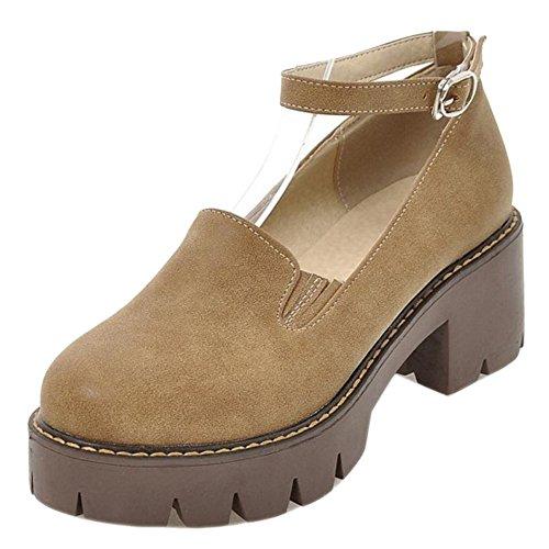 TAOFFEN Women's Chunky Heel Court Shoes Camel 2yoemk