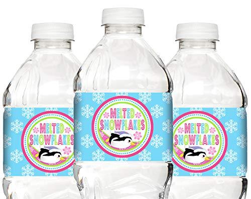 (POP parties Penguin Pink Bottle Wraps - 20 Penguin Water Bottle Labels - Penguin Decorations - Penguin Party Supplies -)