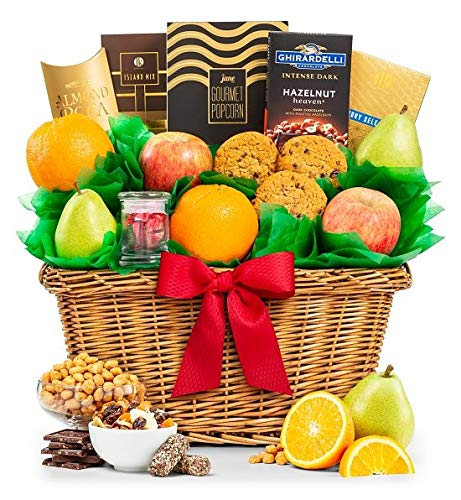 GiftTree Five Star Fruit Gift Basket | Fresh Fruit Includes Pears, Apples, Juicy Oranges | Enjoy Almond Roca, Assorted Nuts & More | Great for Birthdays, Holidays, or Any Occasion