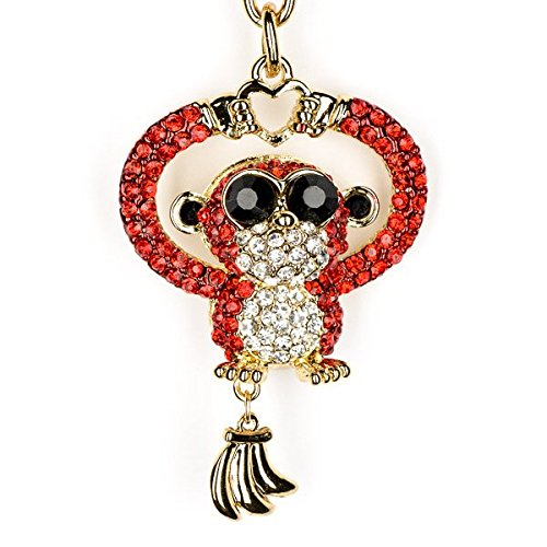 Lilly Rocket Lucky Red Monkey Bling Key Chain With Swarovski Crystal KC238