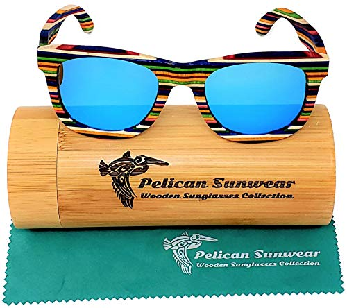 Wood Sunglasses - Multi-Colored Layered Wooden Frame - Polarized Lenses - Handmade Exotic Retro Vintage Style (Multi-Colored, Blue)