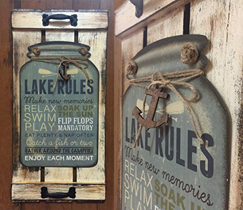 Mason-Canning-Jar-Shutter-LAKE-RULES-SIGN-Distressed-Wood-Rustic-Country-Cabin-Decor
