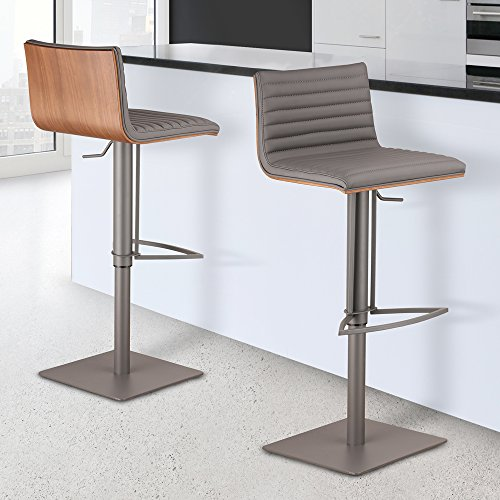 Armen Living LCCASWBAGRBA Café Adjustable Barstool in Grey Faux Leather and Grey Metal Finish