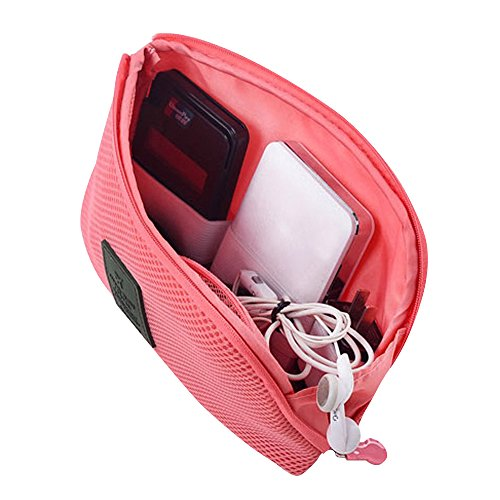 Price comparison product image Happy Hours - Creative Shockproof Digital Storage Bag Pouch / Multifunction Makeup Smartphone Charger Headset Data Cable Case for Travel and Daily(Red)