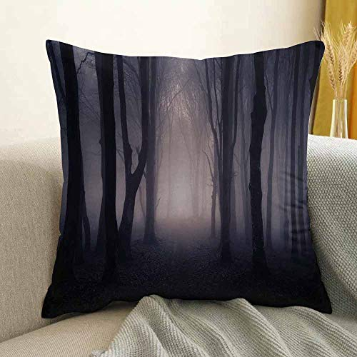 Forest Printed Custom Pillowcase Path Through Dark Deep in Forest with Fog Halloween Creepy Twisted Branches Picture Decorative Sofa Hug Pillowcase W18 x L18 Inch Pink -