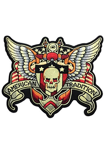 Large Skull w/ Wings Amarican Tradition Patch Badge 7.5 X 9.25 Inch, Look Cool Embroidered Iron on Sew for Biker Trucker Rider Chopper - Skull Wing Tattoo