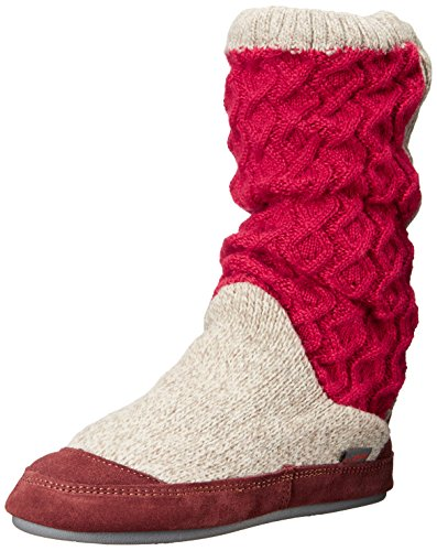 ACORN Women's Slouch Boot Slipper, Red Cable Knit, Medium / 6.5-7.5 B(M) US
