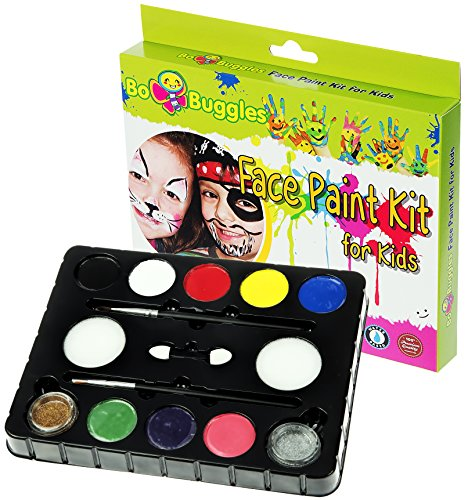 Bo Buggles Face Paint Kit with 30 Stencils, 9 Paints + 2 Glitters Original Buggly Kit for Kids: Large 4 Gram...