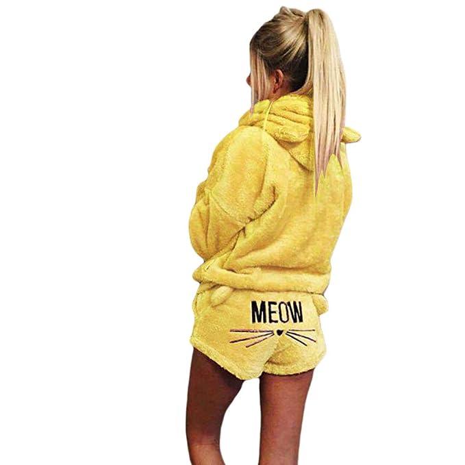 25dd49f967 Ketamyy Mujer Dos Piezas Conjunto de Pijama Invierno Cálido Cómodo Ropa de  Dormir Adorable Gato Orejas Sudadera con Capucha + Gato Bordado Pantalones  ...