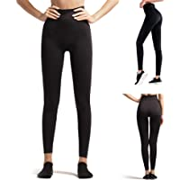LANSHO Women's High Rise Slim Legging Shape Body Lift Butt Yoga Pants for Fitness Exercise Running Cycling Black