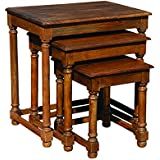Yosemite Home Decor YFUR-HK211 Nest Table Set, Antique Brown Finish