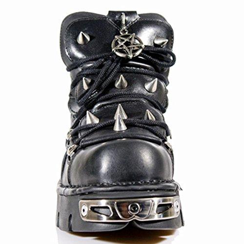 New Rock - Botas de cuero para mujer BLACK, BLACK