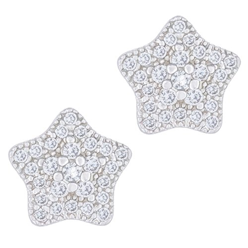 Orrous & Co. Legacy Collection Womens  18K White Gold Plated Cubic Zirconia Star Stud Earrings, One Size