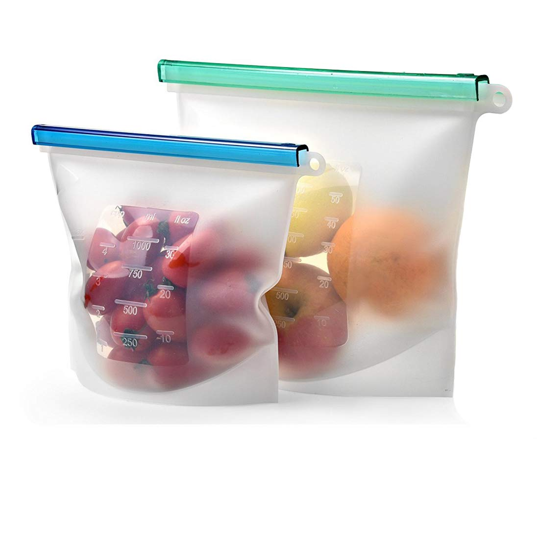 Riutilizzabile in silicone alimentare Storage Bag set di 2–grandi dimensioni 1.417,5gram–ermetica zip Seal mantenere il cibo fresco. Borsa per cucinare, Sous Vide, pranzo, snack, sandwich, freezer. Abimars (50+ 850,5gram, trasparente) FUZE