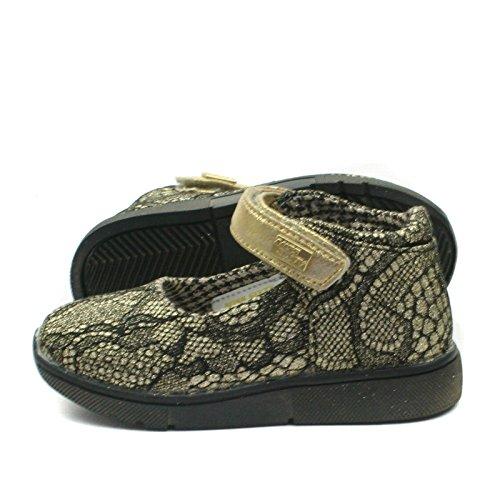 MS003 Miss Sixty Mary Jane Shoe Ankle Strap for Girls in Lace Effect >      > Zapato con cierre de correa del tobillo de las niñas en Efecto del cordón Bronze Gold (Gold)