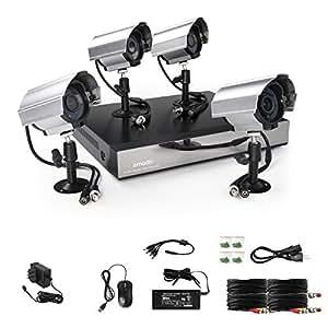 ZMODO 8Channel D1 DVR Security Camera System w/ 4 outdoor Day/Night 600TVL Hi-Resolution cctv Surveillance Cameras No Hard Drive