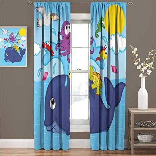 KAKKSW Extra Wide Curtain, Sunshade Windshield, Whale, Marine Gang Octopus Crab Turtle Seahorse Pacific Sun Underwater Ocean Playroom Design, 108