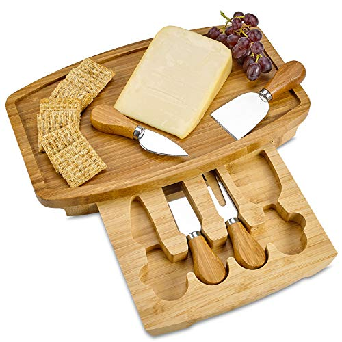 - Bamboo Cheese Board 12 x 8 Inch - 100% Natural Wood Serving Platter Set with 4 Knife and Utensils - Perfect Housewarming, Wedding Gift.