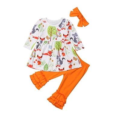 Wang-RX Ropa para bebés y niñas pequeñas Tops con Zorro Floral ...