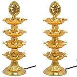 Varshine Premium 4 Layer New Electric Gold LED Bulb Lights Diya|Deep|Deepak for Pooja|Puja|Mandir| Diwali Festival Decoration||Pack of 2 || K-04