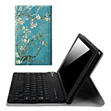 Fintie Blade X1 Keyboard Case for Amazon Fire HD 8 (Previous Generation - 6th) 2016 Release, Slim Fit Slim Shell Light Weight Stand with Magnetically Detachable Wireless Bluetooth Keyboard, Blossom
