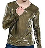 AngelSpace Mens Pullover Classic Fit Satin Round Neck Nightclub Tees Golden XL