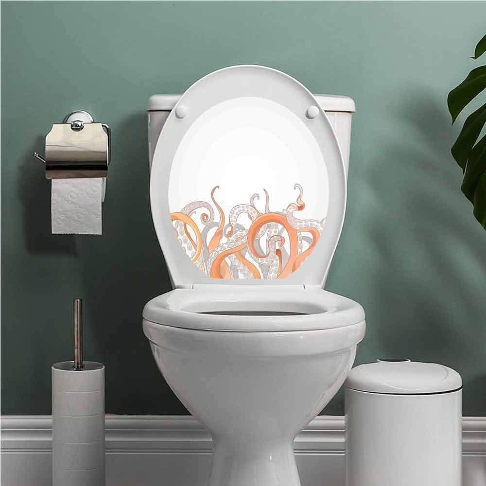 Thinkinghome Octopus Toilet Seats Wall Stickers Removable Octopus Tentacles Background Underwater Marine Nature and Sea Creatures Nautical Bathroom Decoration Decal Grey Orange W12XL14 INCH by Thinkinghome