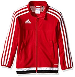 adidas Youth Soccer Tiro 15 Training Jacket, Power Red/White/Black, Large