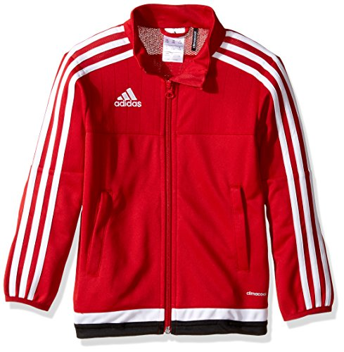 adidas Youth Soccer Tiro 15 Training Jacket, Power Red/White/Black, - Jacket Warm Up Youth
