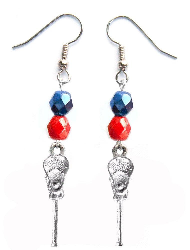 ''Lacrosse Stick & Ball'' Lacrosse Earrings (Team Colors Navy Blue & Red)