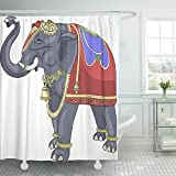 Emvency Shower Curtain Waterproof Decorative Bathroom 72 x 72 inches Gray Animals Decorated Bridal Indian Elephant Asian Color Culture Gold Heavy Holy Polyester Fabric Set with Hooks