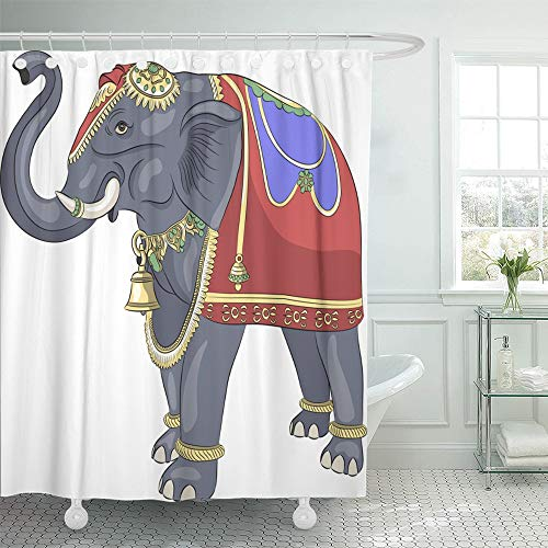 Emvency Shower Curtain Waterproof Decorative Bathroom 72 x 72 inches Gray Animals Decorated Bridal Indian Elephant Asian Color Culture Gold Heavy Holy Polyester Fabric Set with Hooks by Emvency