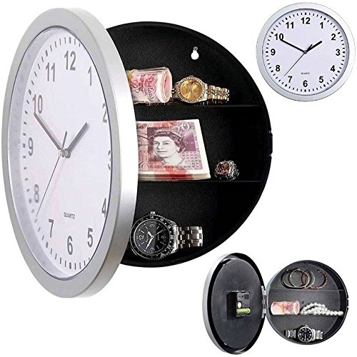 Price comparison product image Novelty Wall Clock Normal Look Unexpected Design Personal Security Safty Box with Secret Slot inside 3 Compartment Suitable for Money,  Key,  Jewelry etc. Creative Home Socket Hider CL041