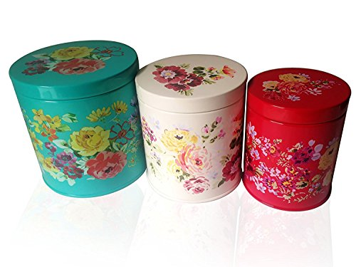 The Pioneer Woman Garden Meadow 3-Piece Tin Canister Bundle