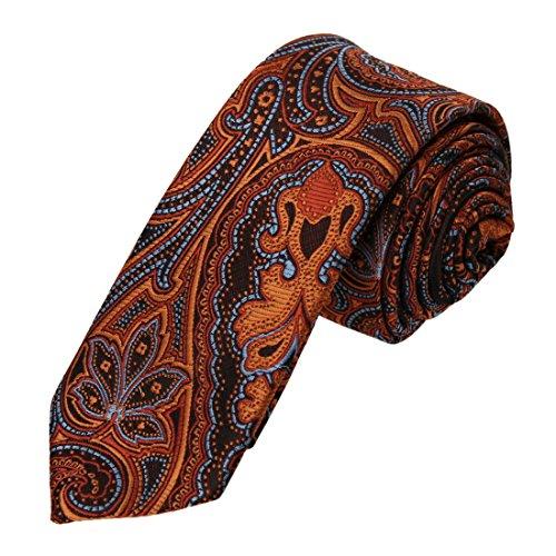 Epoint EAE2B03B Orange Blue Neckwear Paisley Woven Microfiber Skinny Tie Contemporary -
