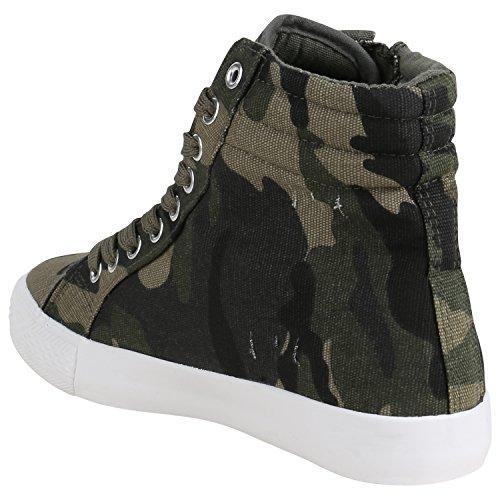 Damen Herren Unisex Sneaker High Schnürer Denim Sneakers Camouflage Sportschuhe Turnschuhe Glitzer Stoff Schuhe Übergrößen Flandell Camouflage Zipper