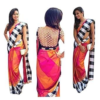 RV Creation Designer Women s New Arrivals Zarna Silk Saree  Amazon.in   Clothing   Accessories e5eadf63b1080