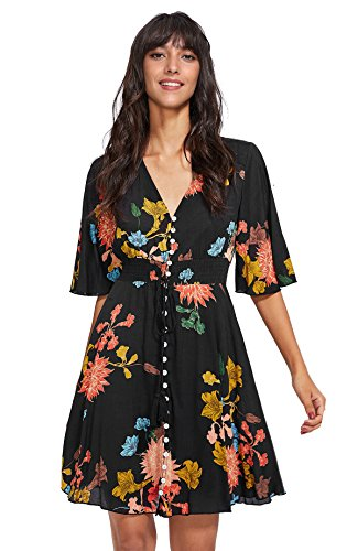 - Milumia Women's Boho Button Up Split Floral Print Flowy Party Dress X-Large Black