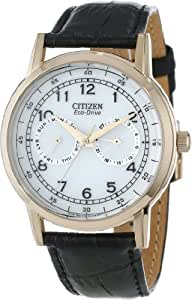 "Citizen Men's AO9003-16A ""Eco-Drive"" Rose Gold-Tone Stainless Steel Watch with Black Leather Band"