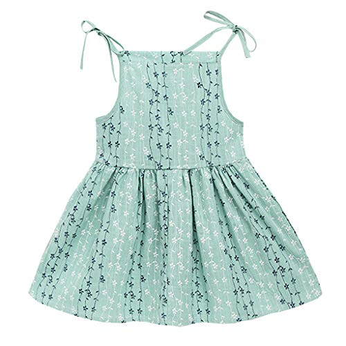 HZB Lovely Cute Fashion Toddler Kid Baby Girl Solid Flower Striped Princess Party Dress Sundress Clothes Green 6