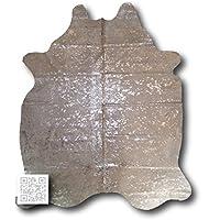 Silver on White Luxury Metallic Cowhide Rug