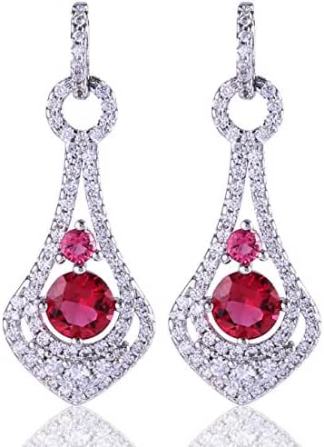 GULICX Fashion Pierced Drop Earrings White Gold Electroplated Red Ruby Color Cubic Zirconia for Lady