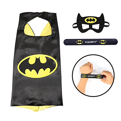 [Ecparty Superhero Cape and Mask and Bracelets Costumes Set for Kids (Black(Batman))] (Make Your Own Superhero Costume)