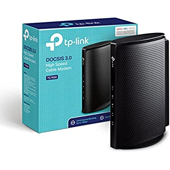 TP-Link TC7650 DOCSIS 3.0 (24x8) High Speed Cable Modem. Max Download Speeds Up to 1000Mbps. Certified for Comcast XFINITY, Spectrum, Cox, and More.