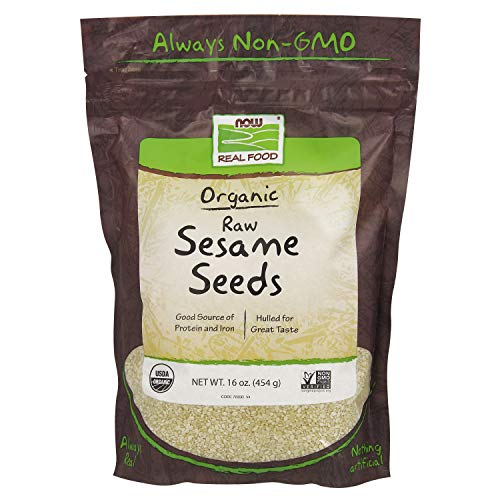 NOW Foods, Certified Organic Sesame Seeds, Source of Protein, Iron and Fatty Acids, Hulled for Great Taste, Certified Non-GMO, 16-Ounce