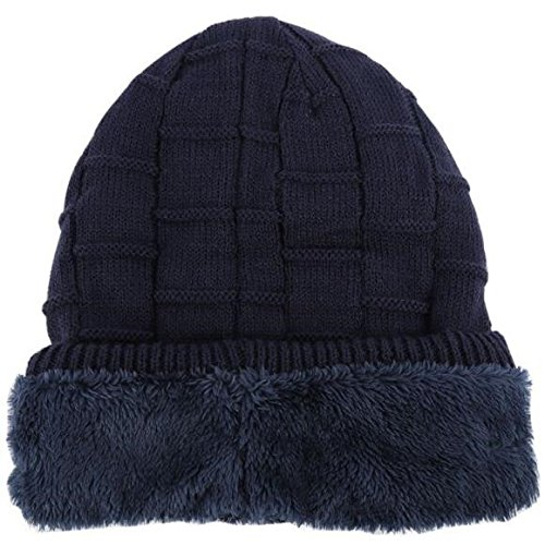 New Wireless Bluetooth 3.0V Beanie Knitted Plus Velvet Winter Hat Headset Speaker Mic Hand-Free Music Mp3 Magic Smart Cap with Gift Box Package (Striped Navy, Gift Box Package)
