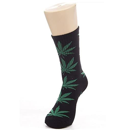 Leaves Socks Medium Thick Outdoor Sports Weeds Socks Black+Green