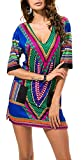 AOVCL Women's Sexy V Neck African Print Dashiki Bodycon Midi Dress