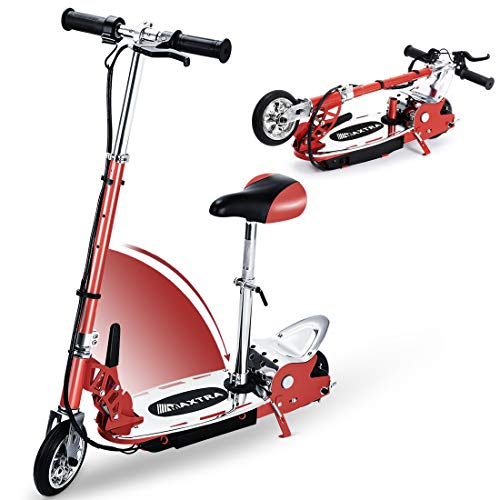 Overwhelming Upgrade E120 Adjustable Handlebar and Seat Folding Electric Scooter for Kids,177lbs Max Weight Capacity No Kick to Start Motorized Scooters with Removable Seat -Red