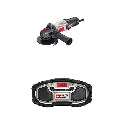 PORTER-CABLE PCEG011 6 AMP 4-1 2 IN. ANGLE GRINDER with PORTER-CABLE PCC771B Bluetooth Radio